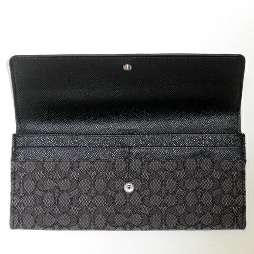 COACH 52575黑灰織布logo輕便長夾 6