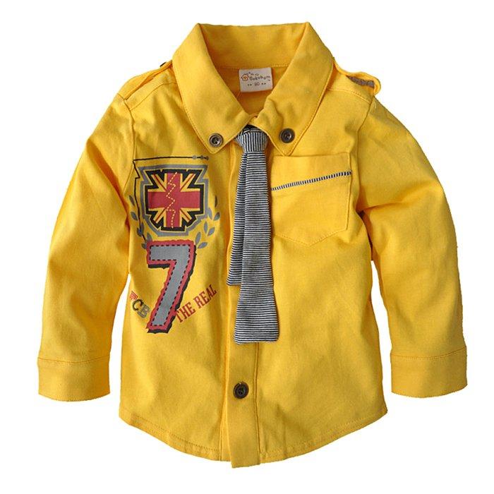 淇淇婦幼館~RD080~日單 新男童款 黃色數字7徽章印花 領帶 長袖襯衫 尺寸90~13