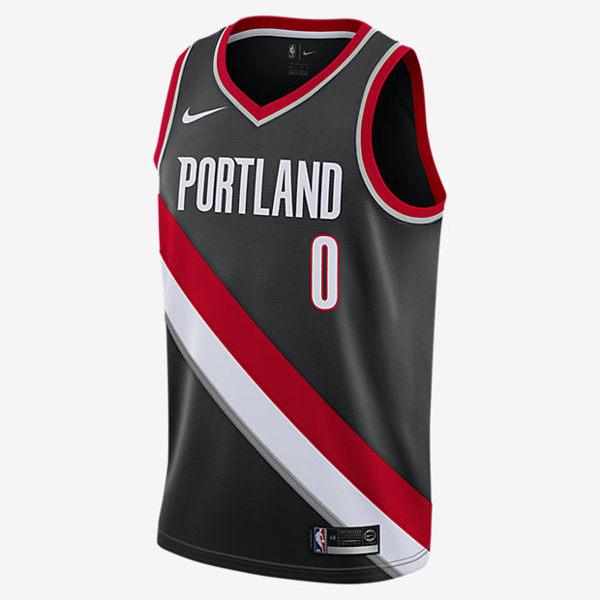 Nike DAMIAN LILLARD 男裝 背心 上衣 球衣 籃球 NBA 波特蘭 拓荒者 灰 紅 白【運動世界】864505-010