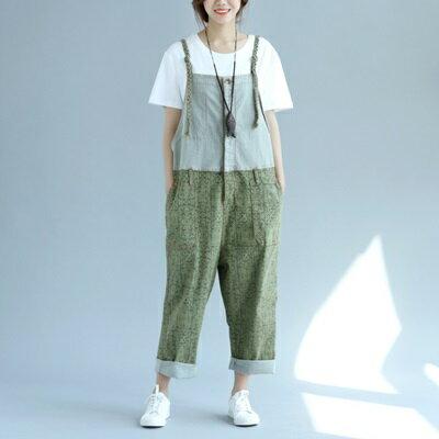 吊帶褲-個性拼接大口袋寬鬆女褲子73sf7【獨家進口】【米蘭精品】