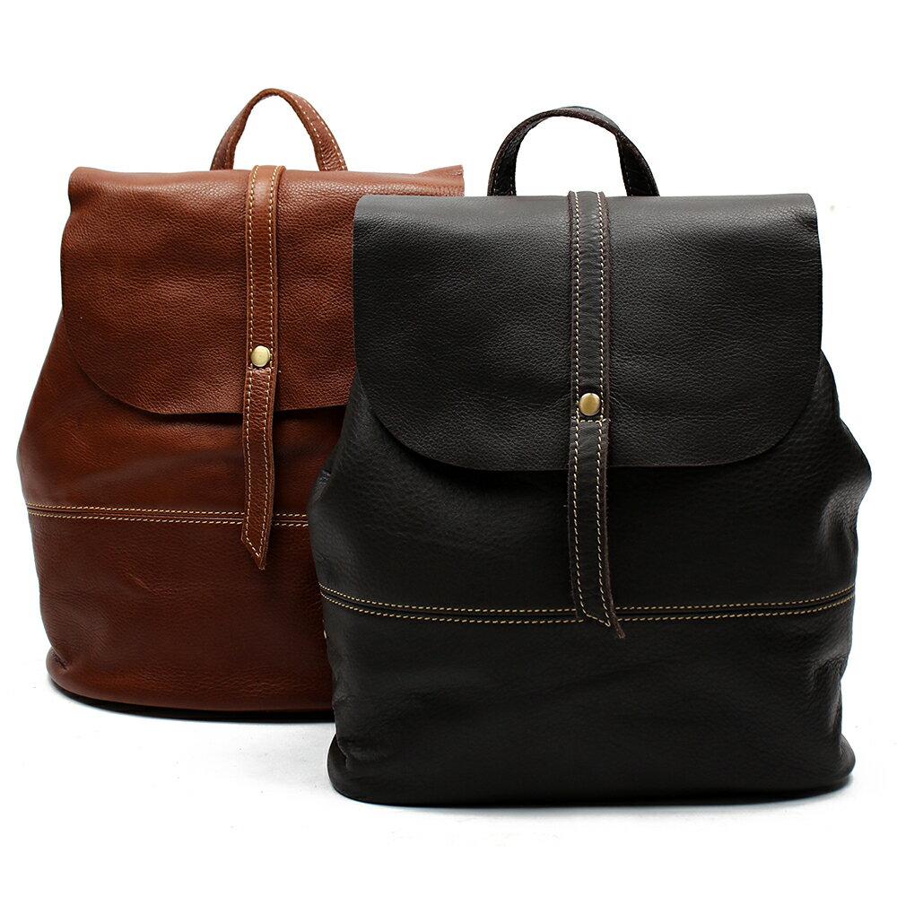 【BEIBAOBAO】英倫風情植鞣真皮後背包(共兩色:氣質黑 ) 1
