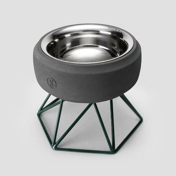 SPUTNIK 寵物碗架 Cozy Cement Bowl - 黑水泥+綠架(M1) Pet's Talk 2