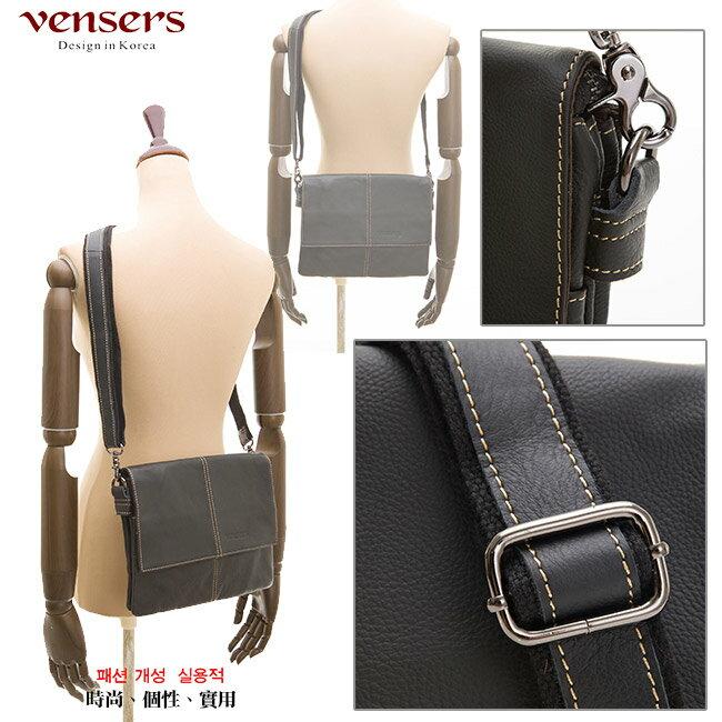 【Vensers】小牛皮潮流個性包~斜肩背包(N131001黑色) 3