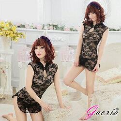 Gaoria 東方佳人 半透網紗性感旗袍 角色服 黑色 情趣睡衣 N3-0067