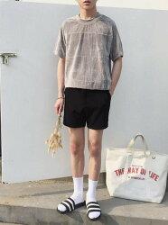 FINDSENSE品牌 時尚潮流 男 百搭 純色金絲絨條紋 短袖T恤上衣 圓領上衣短T