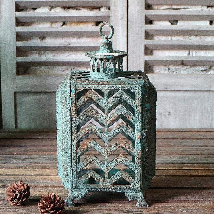 歐式復古鐵藝鏤空鐵藝風燈燭臺擺件家居裝飾1入