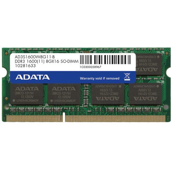 【新風尚潮流】威剛筆記型記憶體 8G DDR3-1600 穩定性高 終身保固 AD3S1600W8G11-R