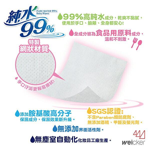 【Weicker】唯可 純水99%日本製手口專用濕紙巾(網狀型3入)