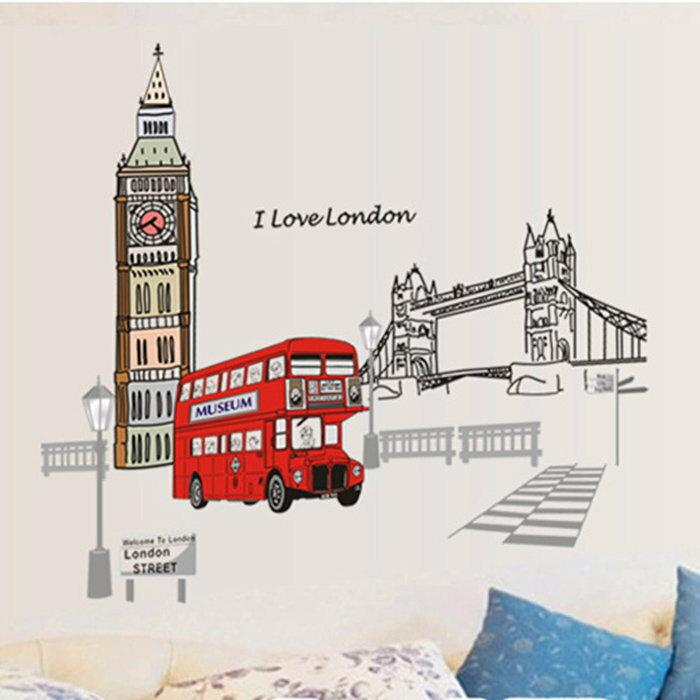 DIY無痕壁貼 倫敦巴士 牆貼 創意壁貼 【YV7534】快樂生活網