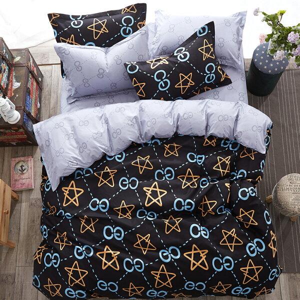 哇哇購:哇哇購個性印花四件式被套床包組加大史蒂芬