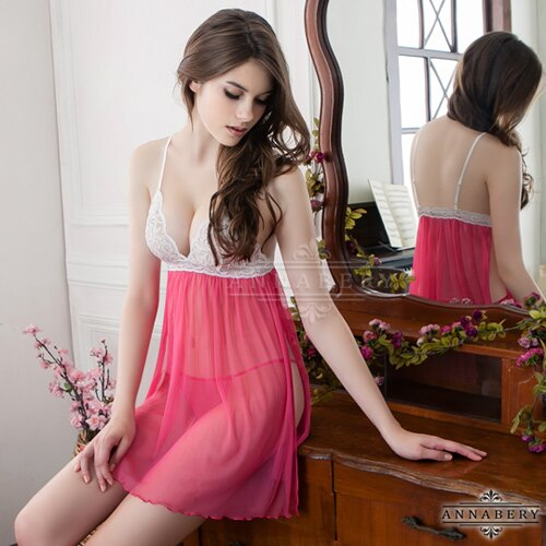 大尺碼Annabery桃色側開襟二件式柔紗睡衣 SEXYBABY 性感寶貝 NY14020046