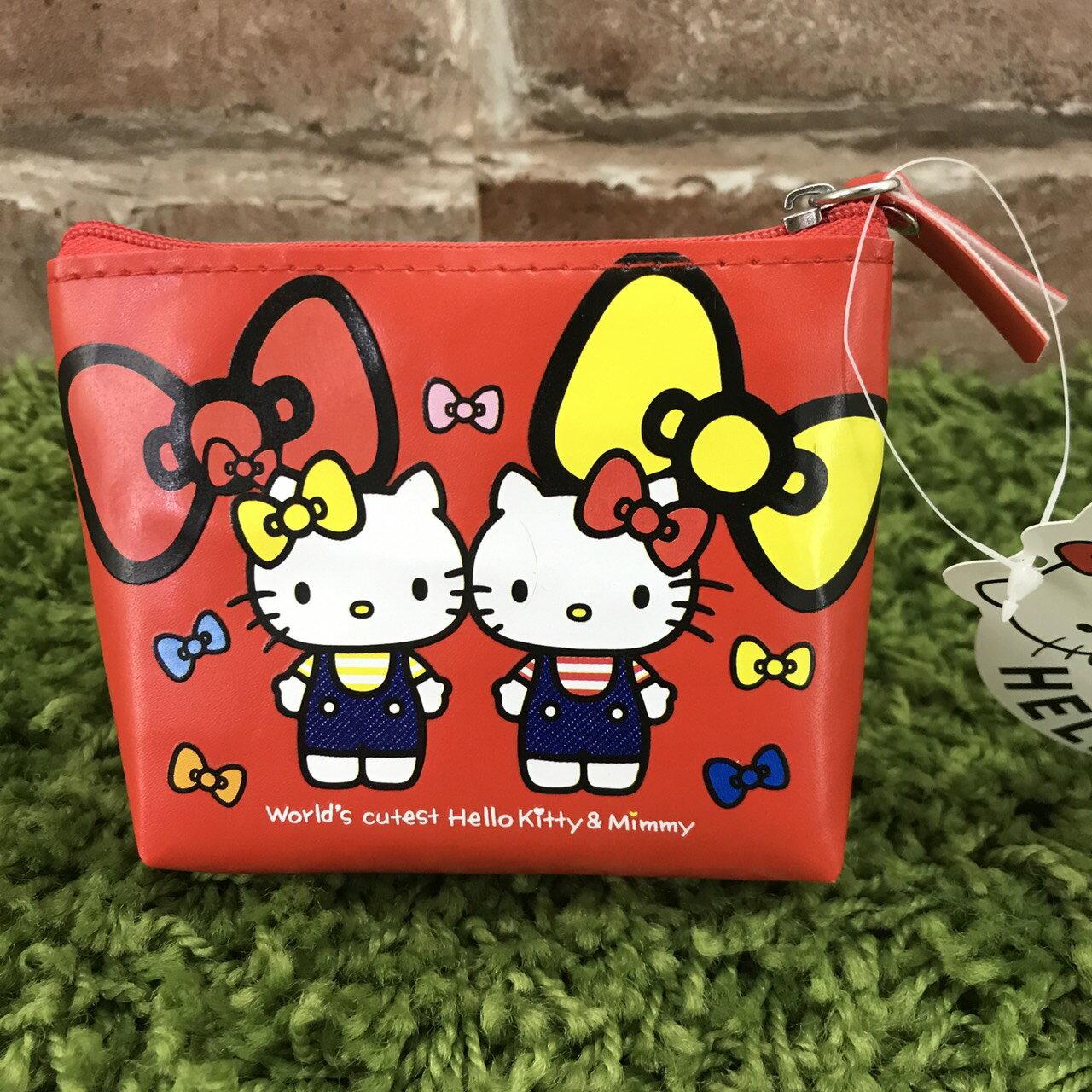 【真愛日本】17100700004 梯形零錢包-雙胞胎紅 三麗鷗 kitty 凱蒂貓 化妝包 收納包 錢包