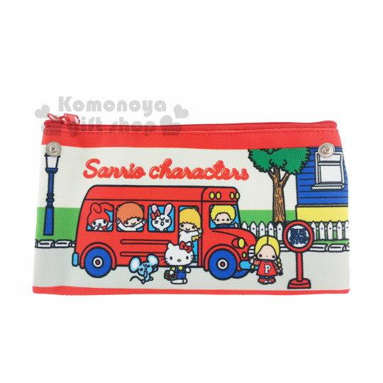 〔小禮堂〕Sanrio大集合 丹寧扁平雙面筆袋《紅巴士.多角色》Sanrio70年代人物系列