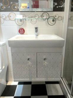 [大台北宅急修]100%全防水衛浴設備,晶鑽防水陶瓷浴櫃組 60CM,鋼琴烤漆塗裝BQ6048+2049