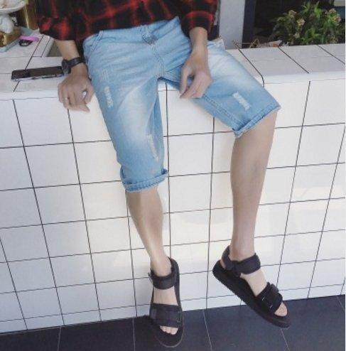 超殺優惠 牛仔短褲 淺色 藍 破壞牛仔短褲 FINDSENSE原廠供應