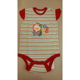 【淘氣寶寶】PUKU藍色企鵝(天然彩棉)嬰幼兒短袖連身衣包屁衣,紅色條紋60-80公分,台灣織造