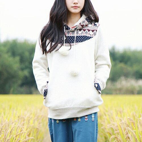 OREAD-自由風格:森女純棉內刷毛鹿角針織布拼色口袋衛衣(2色M~L)*ORead*