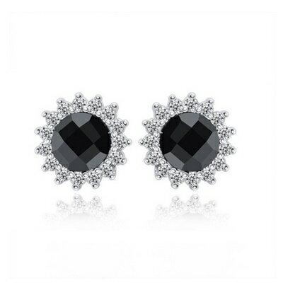 925純銀耳環鑲鑽耳飾~高貴大方 百搭生日情人節 女飾品73dz24~ ~~米蘭 ~