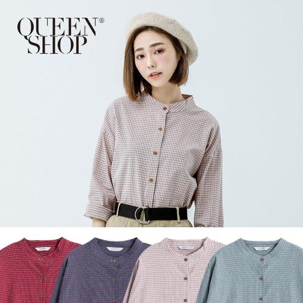 Queen Shop【01022703】中山領配色小格紋襯衫 四色售*預購*