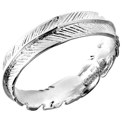 Spiritual Embrace Feather Wrap .925 Sterling Silver Ring 0