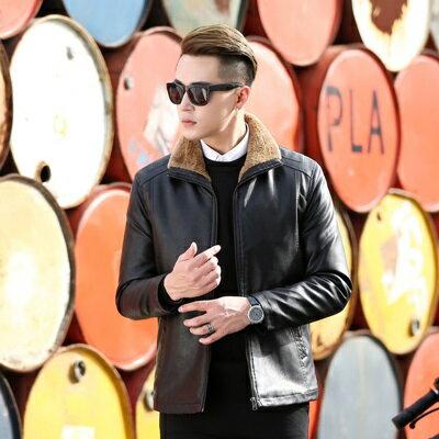 皮衣夾克外套-秋冬翻領純色毛領男夾克2色73pn5【獨家進口】【米蘭精品】 1