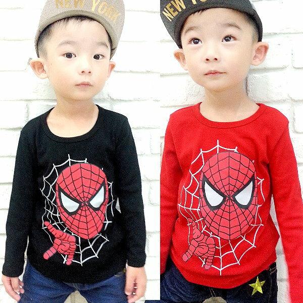 【班比納精品童裝】彈力內磨毛面具人蜘蛛網上衣-黑/紅-兩色可選【BM150820034/BM150820035】