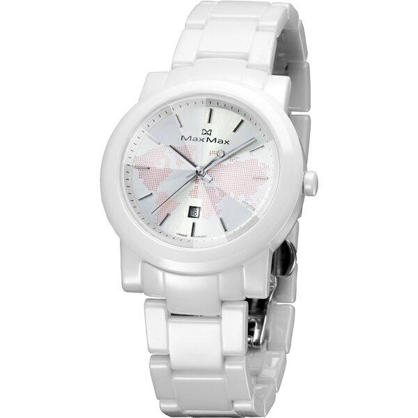 Max Max專屬陶瓷錶MAS5080-12粉紅世界地圖世界類鑽切割鏡面陶瓷腕錶/白面38mm