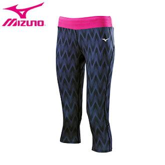 K2TB670513(黑紋X紫紅)山型昇華印花女瑜珈七分褲 【美津濃MIZUNO】