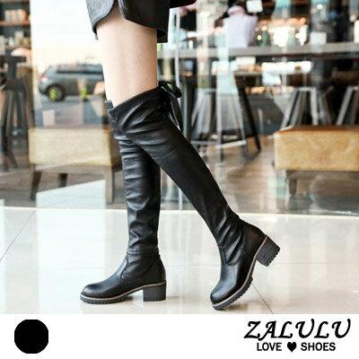 ZALULU愛鞋館 KE155 預購 甜美女孩後綁帶蝴蝶結低跟膝上靴-黑色-36-39