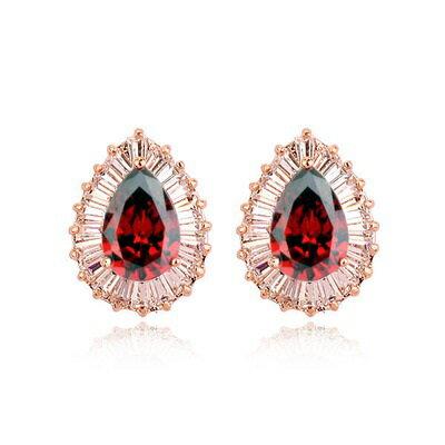 玫瑰金耳環925純銀水晶耳飾~ 風格高貴 情人節生日 女飾品2色73gs80~ ~~米蘭