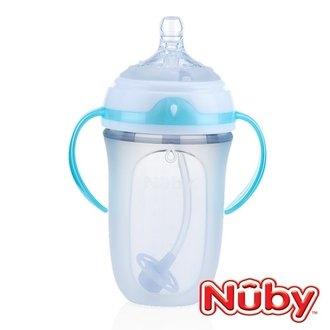 NubyComfort寬口徑防脹氣矽膠奶瓶250ml+360度滾珠吸管【六甲媽咪】