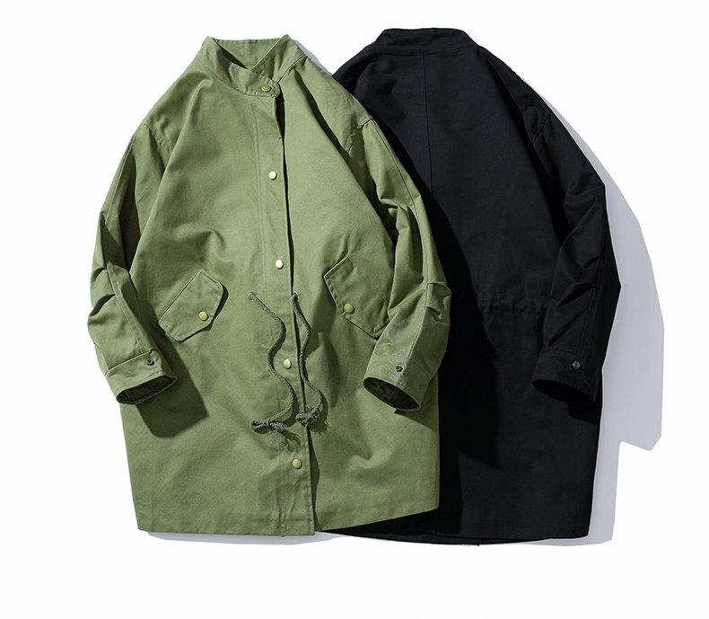 FINDSENSE 品牌設計 日系 工裝 中長款 大衣 風衣 外套 春季款 非 DECKIES NIKE 潮流