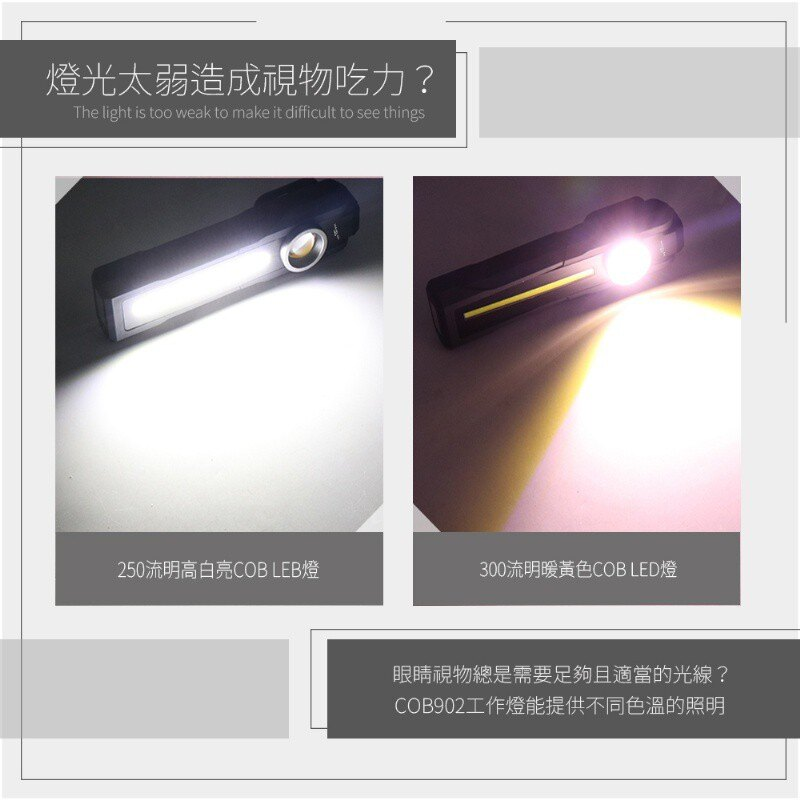 台灣監製公司貨 COB902 磁吸多角度手電筒工作燈 磁鐵工作燈 手電筒 USB充電 可吊掛 充電式工作燈 4