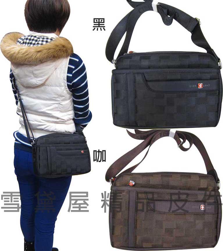 ^~雪黛屋^~OVER~LAND 肩側包 二層拉鍊式主袋口隨身物品包可放平板電腦 防水尼龍