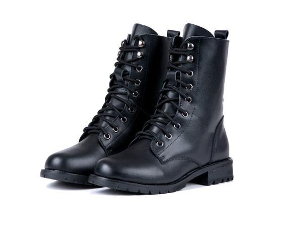 Women PUNK Military Army Knight Lace-up Short Boots Shoes 3
