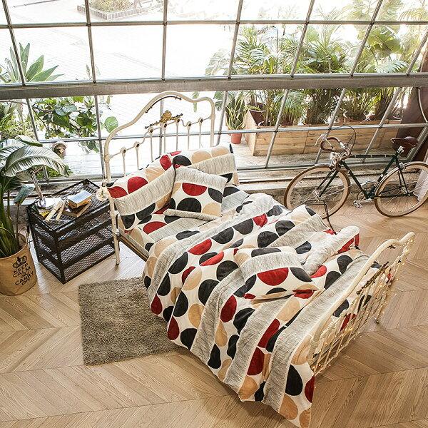 戀家小舖:獨家訂製限量款保暖法蘭絨【極簡主義】雙人鋪棉床包薄被毯組,戀家小舖S-AAR215