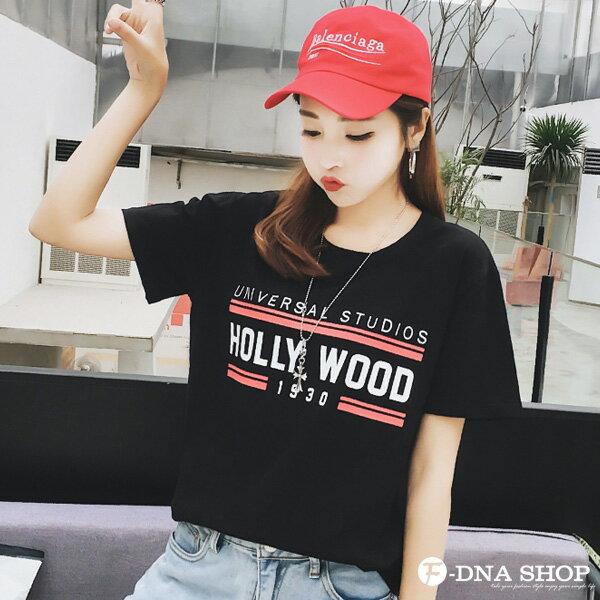 F-DNA★HOLLYWOOD撞色英文圓領短袖上衣T恤(3色-M-2XL)【ET12715】 5