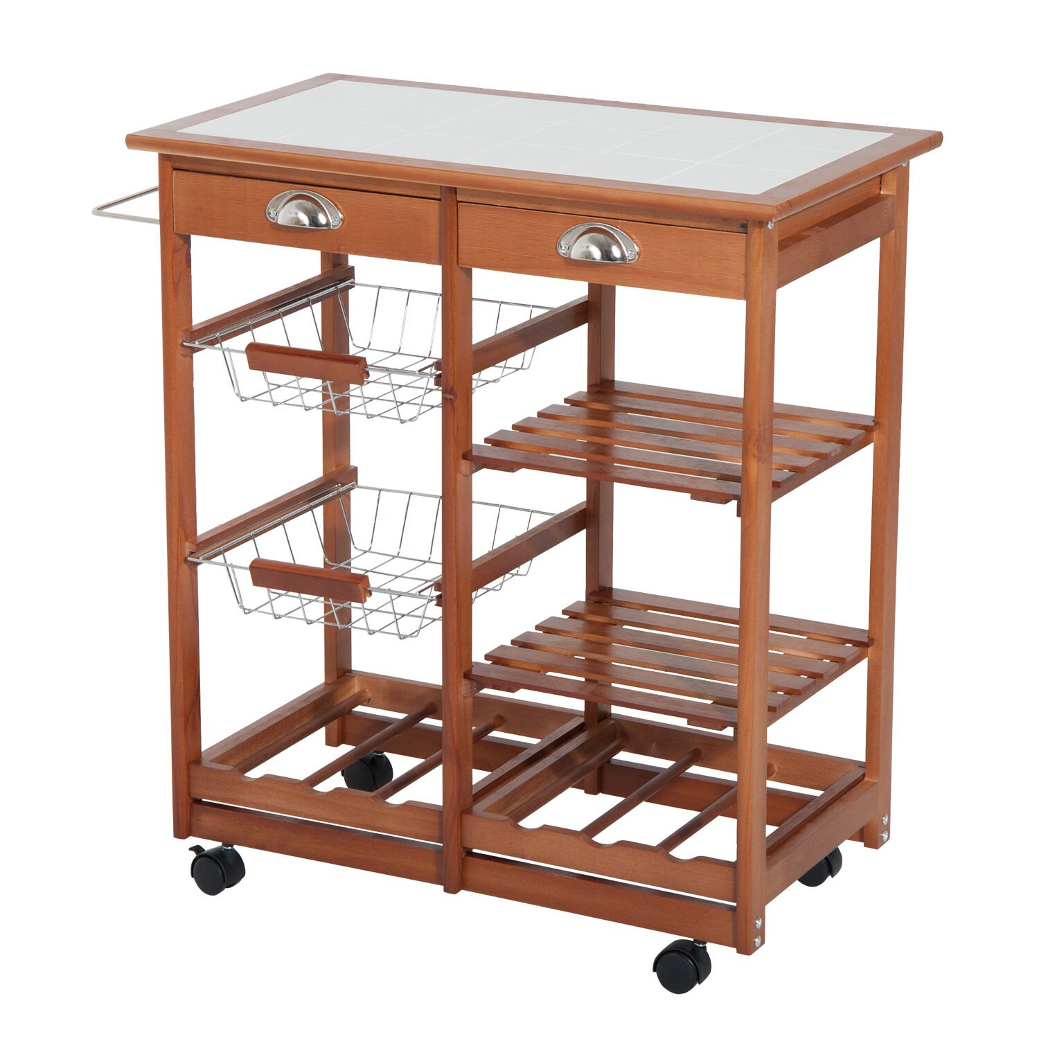 Homcom Rolling Tile Top Wooden Kitchen Trolley Microwave Cart With 6 Bottle Wine Rack 0
