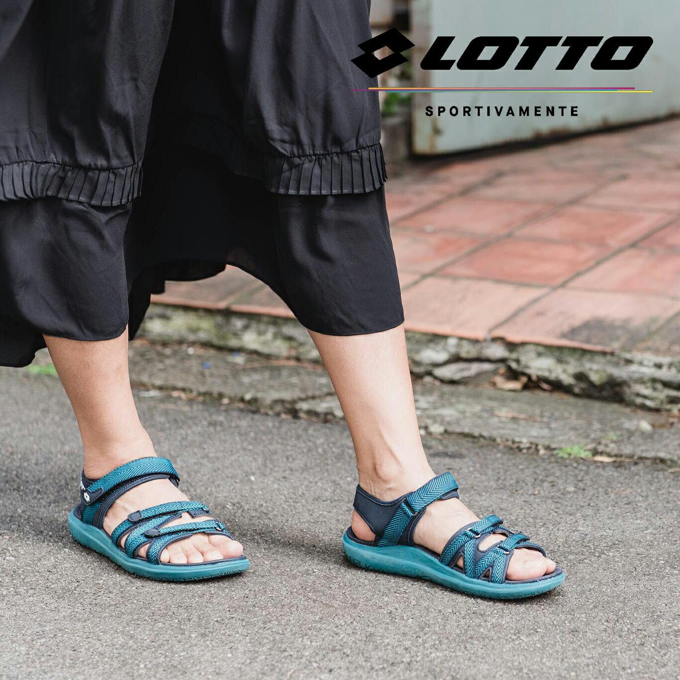 【巷子屋】義大利第一品牌-LOTTO樂得 女款人字紋織帶輕涼鞋 [6175] 松石綠 超值價$750