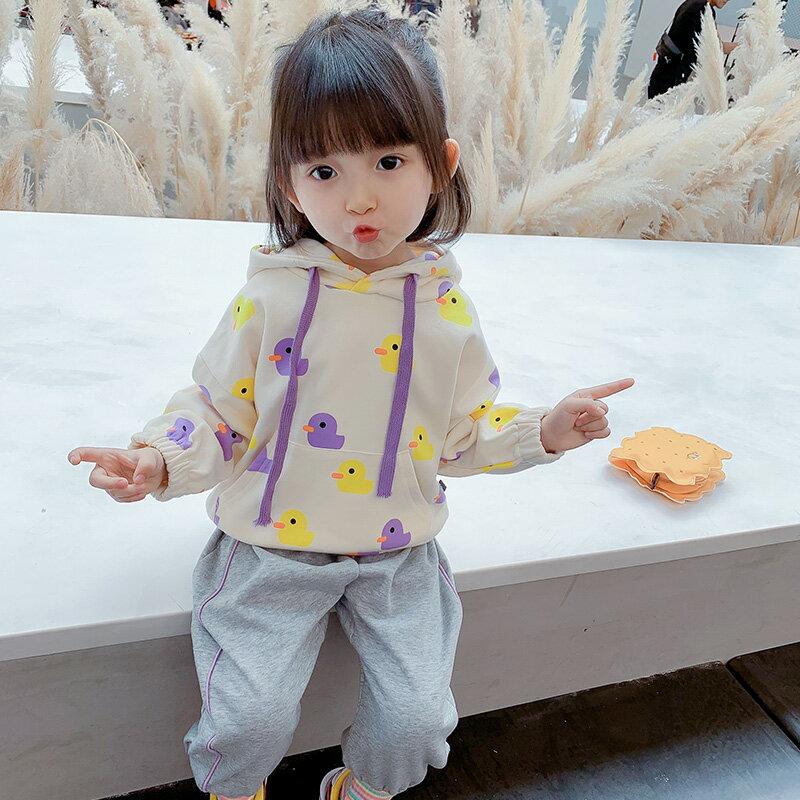 女童連帽衛衣新款秋裝小童上衣春秋童裝兒童加絨外套
