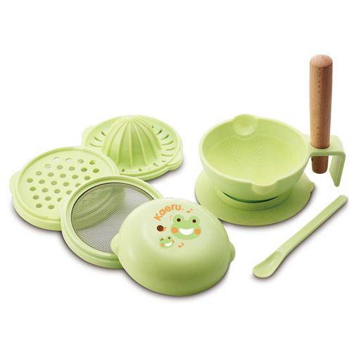 ★衛立兒生活館★哈皮蛙Kaeru 嬰幼兒七件組食物調理器+束口袋(530003)