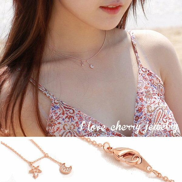 韓版精緻可愛月牙鑲鑽造型項鍊短鍊【櫻桃飾品】【20524】