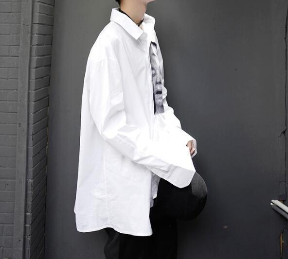 FINDSENSE Z1 韓國 時尚 潮 男 寬鬆大尺碼 胸前個性頭像印花 長袖襯衫 特色襯衫
