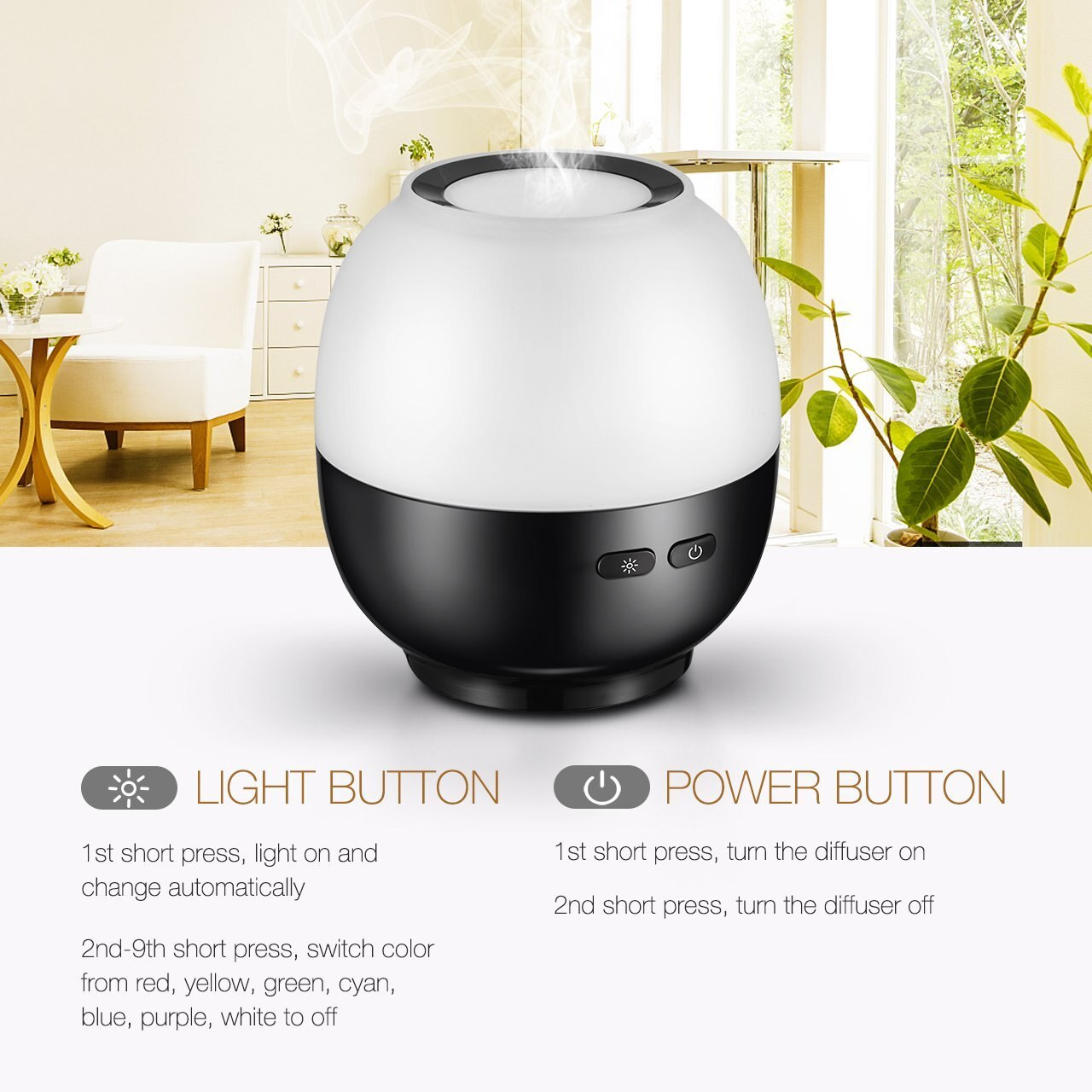 VicTsing Essential Oil Diffuser, 140ml Aroma Essential Oil Diffuser with 7-Color LED Light, Waterless Auto-Off Function, Whisper-Quiet Operation, Suits for Home, Yoga, Office, Spa, Bedroom, Baby Room 3