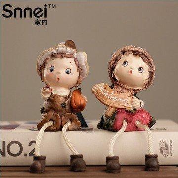 勃艮第莊園樹脂小娃娃 家居裝飾擺件 創意浪漫結婚禮物(2個組)