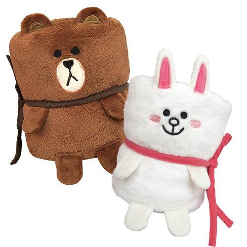 【享夢城堡】小捲毯75x95cm-LINEFRIENDS-兔兔.熊大