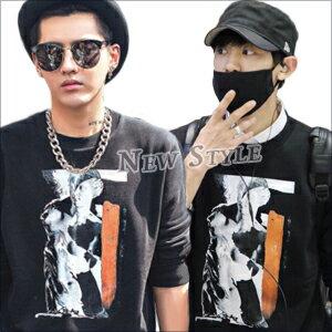 ☆ New Style ☆ EXO 吳亦凡 Kris 燦烈 Chanyeol 同款維納斯人像印花加絨長袖T恤 ( 現貨+預購 )