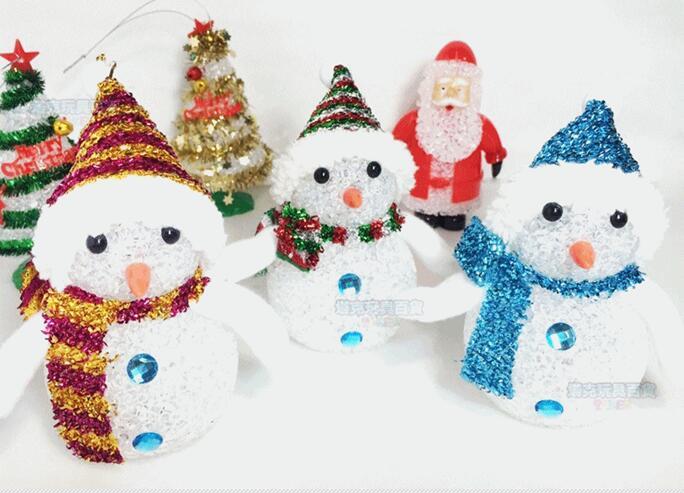 雪人 七彩LED 交換禮物 聖誕樹燈 水晶 LED聖誕燈 七彩聖誕燈 小夜燈 裝飾燈 聖誕佈置【塔克】
