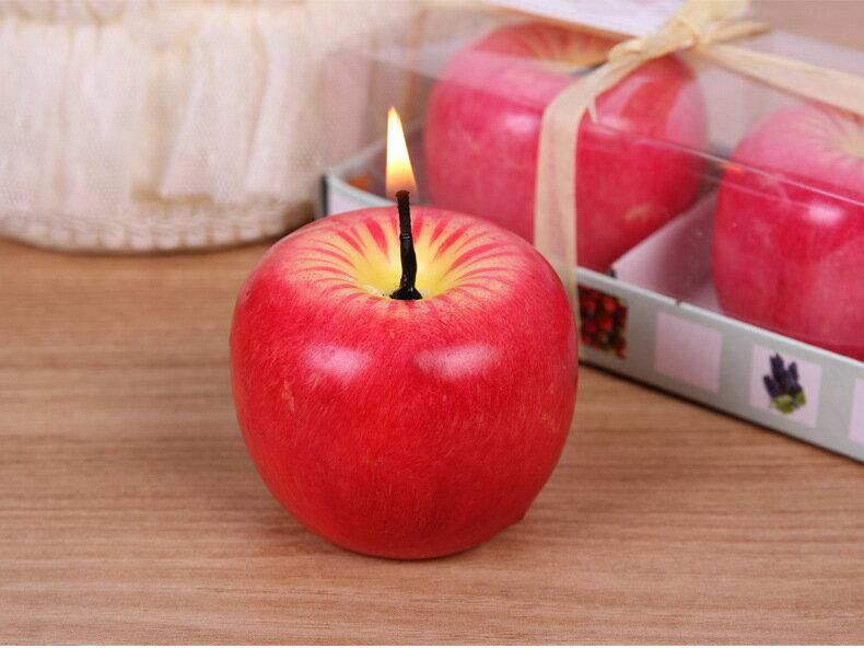 仿真淡香味水果無煙DIY蠟燭 草莓 蘋果 桃子擺飾 裝飾