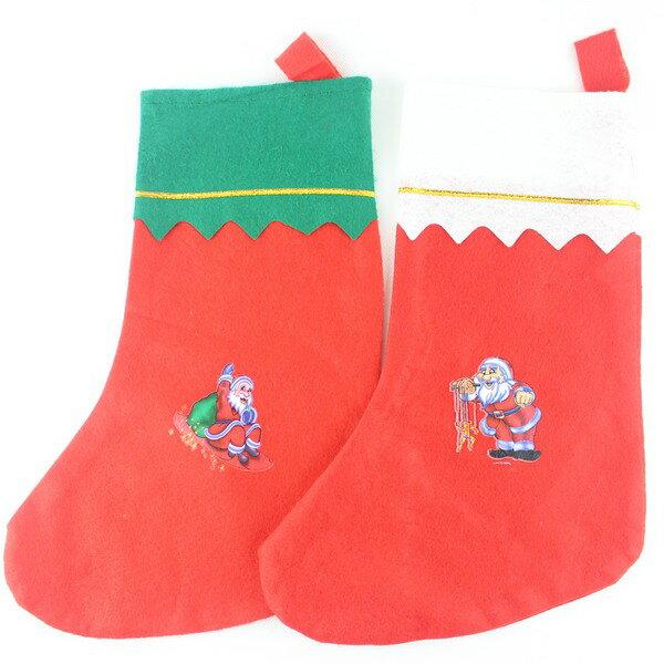 聖誕襪 小彩圖聖誕襪 耶誕襪 綠邊.白邊(中大型)/一個入{促30}~5600A